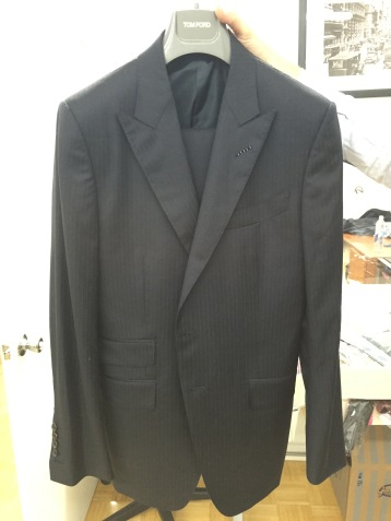 Tom Ford Pin Strip Navy Suit, Peak Lapels