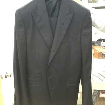Tom Ford Pin Strip Navy Suit, Peak Lapels